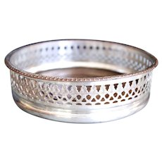 English Silver on Copper Galleried Wine Coaster