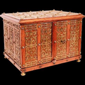 English Victorian Brass Mounted Jewelry Box / Strong Box, 19th Century