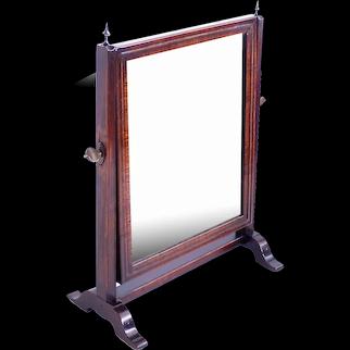 English Walnut Dressing or Shaving Mirror, Early 19th Century