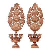Continental Garniture, Large Pair of Carved and Gilded Vases with Brass Repousse Sunflower Bouquets