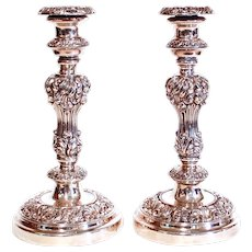 Pair Of English Silver On Copper Antique Sheffield Candlesticks, 19th Century