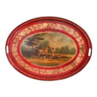 French or English Tôle Painted Oval Tray with Horsemen