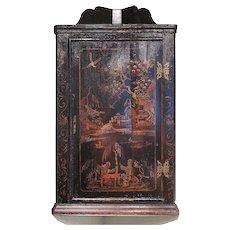 George II Black Japanned Hanging Corner Cabinet