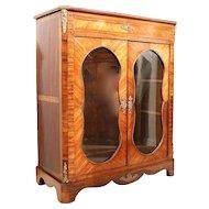Napoleon III Glass Front Tulipwood and Kingwood Cabinet