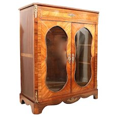 Napoleon III Glass Front Tulipwood and Kingwood Cabinet