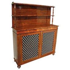 English Regency Rosewood Chiffonier Cabinet