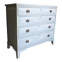 American Blue Painted Federal Chest of Drawers on French Feet