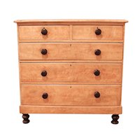English Country Mid-19th Century Chest of Drawers with Original Painted Finish of Bird's Eye Maple