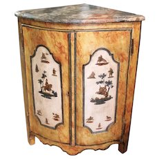 Continental Painted and Lacca Povera Decorated Corner Cabinet, 19th Century