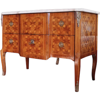 Florette Parquetry Transitional Louis XVI Commode with Marble Top