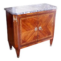 Small French Louis XVI Marquetry Cabinet with Marble Top
