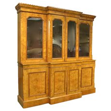 English Burl Walnut Breakfront Bookcase, 19th Century