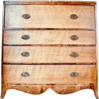 Large American Mid-Atlantic Diamond Inlaid Federal Chest of Drawers, Mahogany and Cherry
