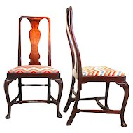 Pair of Walnut George I - George II Side Chairs, Early 18th Century