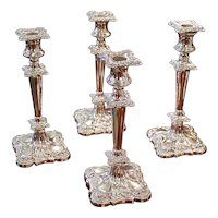 Set of Four American Quadruple Plate Silver Candlesticks