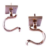 Pair of Brass Fireplace Fire Tool Holders (Jamb Hooks)