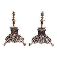 Pair of Flemish Baroque Brass Andirons