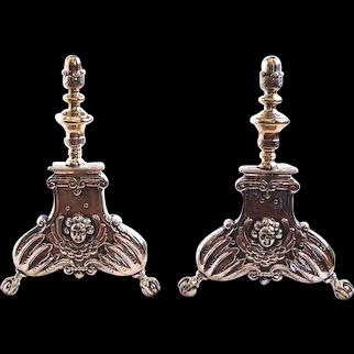 Pair of Flemish Baroque Brass Andirons