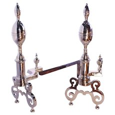 Pair of American Federal Style Lemon Top Brass Andirons
