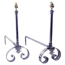 French Polished Steel and Brass Andirons