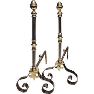 Fine Pair of French Polished Steel and Brass Andirons