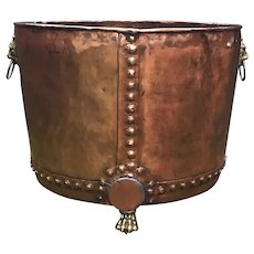 Giant Antique English Copper Log Bin