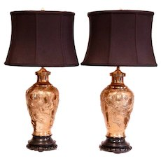 Pair of Japanese Meiji Cast Bronze Vase Lamps with Phoenixes