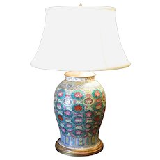 Chinese Famille Rose Lamp with Aqua Ground Florettes