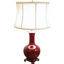 Chinese Porcelain Oxblood Glazed Bottle Vase Lamp