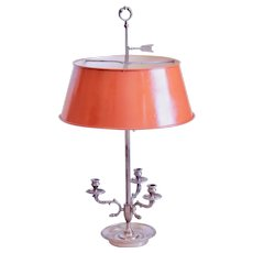 Silver French Bouillotte Lamp With Terracotta Orange Tole Shade
