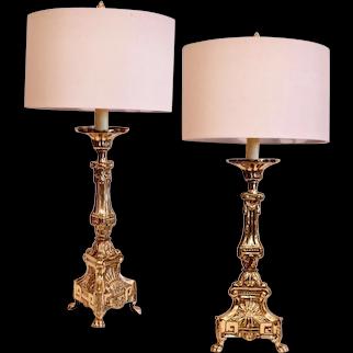 Pair of Continental Brass Repoussé Pricket Stick Lamps