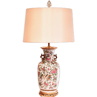 Large Chinese Export Rose Canton Vase Lamp