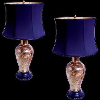 Pair of Japanese Meiji Cast Bronze Vase Lamps with Phoenixes