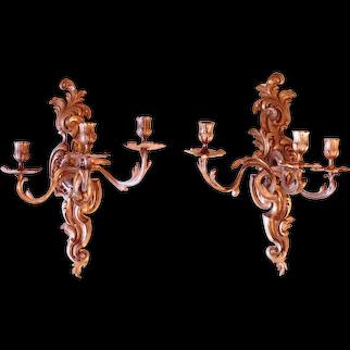 Pair of Fine French Rococo Gilt Bronze Three Light Sconces