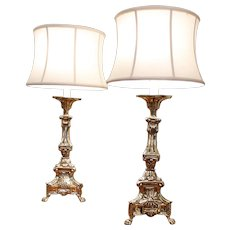 Pair of Continental Brass Repoussé Pricket Stick Lamps