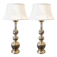 Pair of Large Chinese Brass Prickets Adapted into Lamps