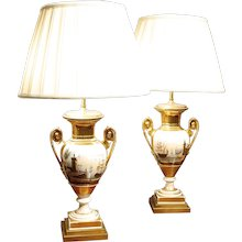 Pair of Paris Porcelain Vase Lamps with Harbor Scenes