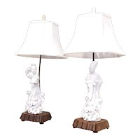 Pair of Chinese Blanc de Chine Guanyin Porcelain Figure Lamps