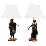 Pair of French Classical Figural Lamps on Walnut Plinths