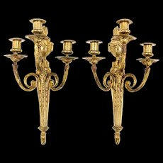 Pair of French Louis LXVI Style Three Light Sconces
