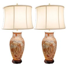 Pair of Unusual Japanese Kutani Porcelain Vase Lamps