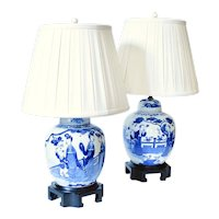 Pair of Chinese Blue and White Figural Decorated Ginger Jars Adapted into Lamps