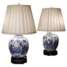 Pair of Chinese Blue and White Figural Decorated Porcelain Ginger Jars Adapted into Lamps