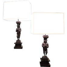 Pair Of 19th Century Black Forest Carved Musician Lamps