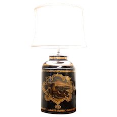English Tôle Tea Cannister Lamp with Gilding and Castle Scene