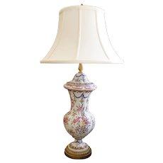 French Samson Porcelain Covered Jar Lamp, with Gilt Brass Plinth