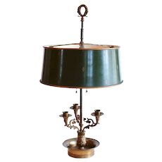 French Bouillotte Lamp with Green Tôle Drum Shade