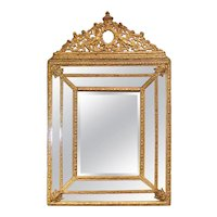 Dutch Gilded Repoussé Cushion Mirror