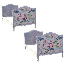 Pair of French Carved and Grey Painted Rococo Twin Size Beds