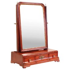 Georgian Period Walnut and Parcel Gilt Dressing Mirror